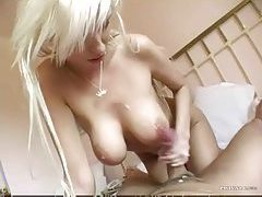 Tempting shaved pussy and a titjob tubes