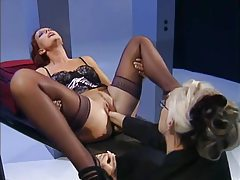 Beautiful German mistress fists lingerie submissive tube