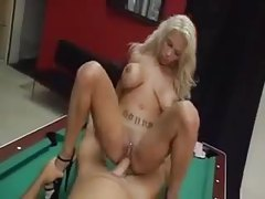 Heavily tattooed lady has pool table sex tubes