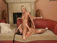 Pretty girls in heels eat wet pussy tubes