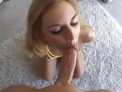 Slim chick in lace panties sucks big dick tubes