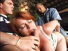 Mature fat redhead takes a double penetration tubes