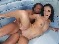 Curly hair chick with small tits enjoys pussy pleasure tubes