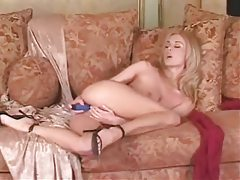 She strips from lace and toys her pussy tubes