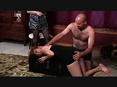 BBW watches her slave spank another submissive hard tubes