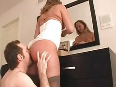 Cuckold rims his mistress while she puts makeup on tubes