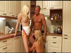 Awesome action in kitchen with two blondes tubes