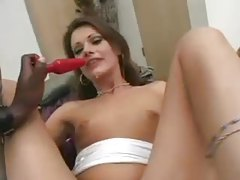 Plugged girl sucks on a big black cock tubes