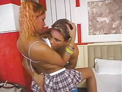 Sexy tranny schoolgirl goes into his place tubes
