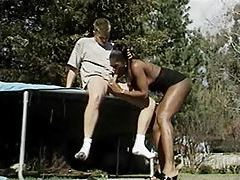 Screwing black shemale on a trampoline tubes