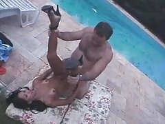 Plowing small tits tranny by the pool tubes