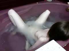 Teen in sweater striptease on webcam tubes