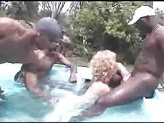 Outdoor gangbang with black dudes tubes