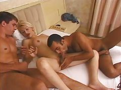 Blonde with perky tits and two men tubes