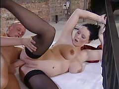 Hot pregnant babe in stockings licked and fucked tubes