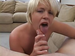 Curvy blonde girl sucks and swallows tubes
