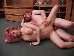 Skinny pink haired girl fucks on floor tubes