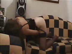 Hot masturbating babe in black lingerie tubes