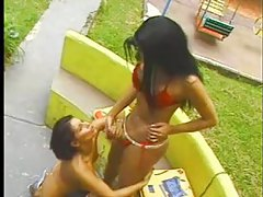 Shemale gets head from a girl outdoors tubes
