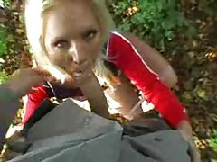 Cute blonde nailed in the woods POV tubes