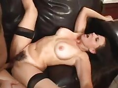 Milf with hairy box sits on his cock tubes