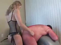 Slave boy in lingerie fucked by strapon tubes