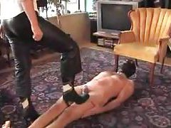 Mistress in high heels walks on him tubes