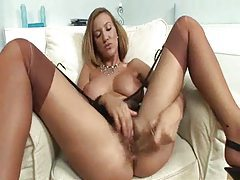 Dildo sex for the sultry girl in stockings tubes