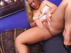 Blonde with big booty loves black guy inside her tubes