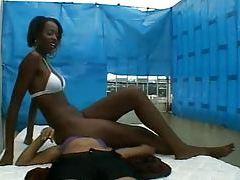 Black bikini babe facesitting on white babe tubes