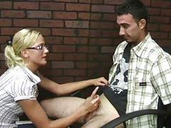Super cute blonde binds his hands before stroking tubes