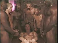 Gay interracial gangbang with white boy taking cock tubes