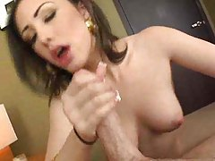 Hot brunette cocksucker putting dick in her throat tubes