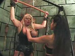 Femdom pain in this dungeon is sizzling hot tubes