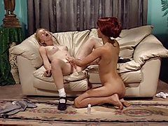 Blonde with pretty teen pussy is licked tubes