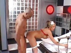 Hot nurse lady in stockings fucked up ass tubes