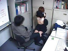 Japanese secretary made to take his cock tubes