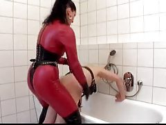 Harsh strapon mistress in leather ass fucks him tubes