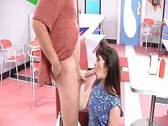Slut screwed in the diner in her shaved box tubes