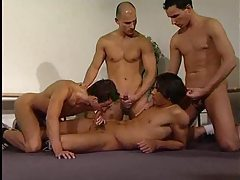 Muscular guys in a blistering threesome tubes