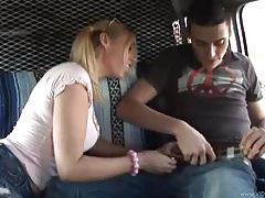 Busty teen gives a handjob in a van tubes