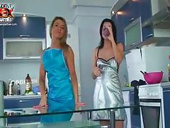 Slender chick at the party covered in cream tubes