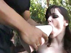Bobbi Starr in latex anal dildo play tubes
