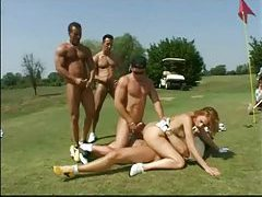 Skinny redhead gangbang on a golf course tubes