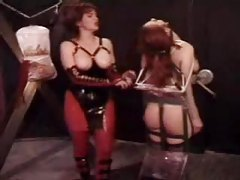 Gagged and bound babe abused by mistress tubes