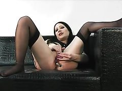 Solo goth girl and her double toy fun tubes