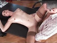 Euro beauty plowed on desk by big cock tubes