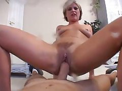 British babe spanks her pussy and takes cock tubes