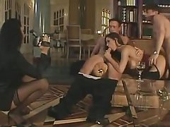 European orgy in the classy home library tubes