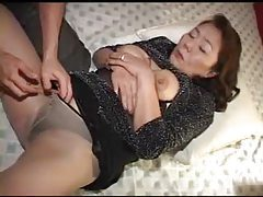 Mature Asian in pantyhose fondled tubes